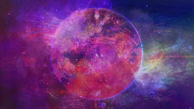 a planet in a purple galaxy